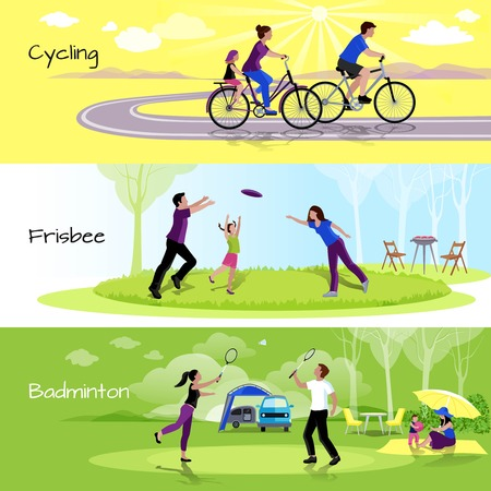 relaxation: Active leisure people horizontal banners with sports events in spare time in flat style vector illustration