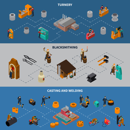 Metalworking processes 3 isometric flowchart infographic elements banners set with blacksmith casting and welding isolated vector illustration Illustration