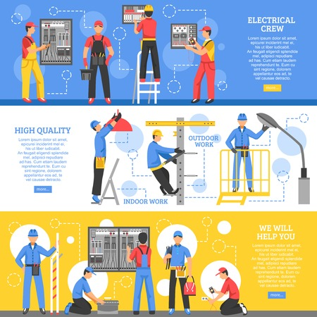 electrical safety: Electrical works horizontal banners with electricians working outdoor and crew of workers indoor flat vector illustration