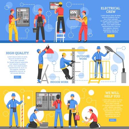 Travaux électriques bannières horizontales avec des électriciens travaillant en plein air et l'équipage de travailleurs à l'intérieur plat illustration vectorielle Vecteurs