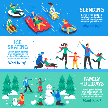 sledging: Winter holidays flat horizontal banners set of sledging ice skating and family vacation vector illustration