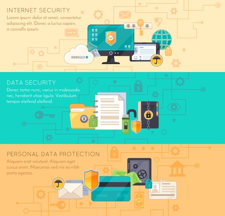 internet protection: Online business processing and personal data protection internet security 3 flat  banners with infographic elements isolated vector illustration