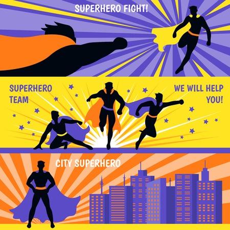 Banners horizontales de equipo de superhéroe con personajes de dibujos animados volando para ayudar a la ilustración de vector plano aislado
