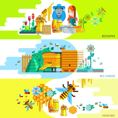 Colorful beekeping horizontal banners with beekeeper garden and honey elements in flat style vector illustration Illustration