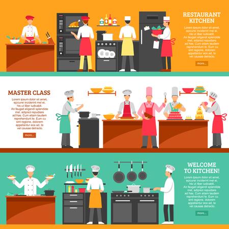 ustensiles de cuisine: cuisine professionnelle bannières horizontales réglées avec cuisine de restaurant et master class compositions plate illustration vectorielle