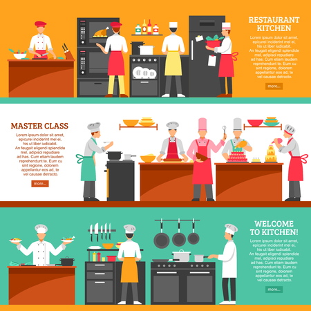 Profesjonalne gotowanie poziome transparenty z kuchnią restauracja i kompozycje klasy mistrzowskiej płaskie ilustracji wektorowych