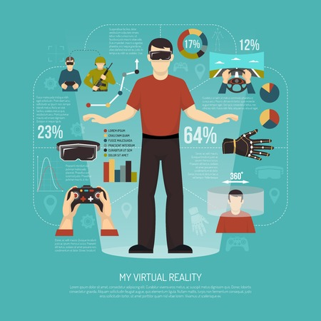Virtual reality vector illustration with gamer wearing augmented reality glasses joystick wired gloves and other gadgets for games