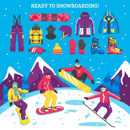 Snowboarding vector illustration with sportsmen figurines and collection of snowboarders equipment clothes and accessories for active winter sport