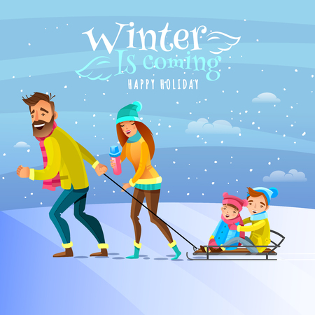 family outside: Happy family spending winter heason holidays outside and tobogganing with kids cartoon vector illustration
