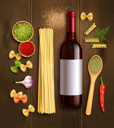 en: Dry pasta dish ingredients with bottle red wine wooden spoon en chili pepper sauce realistic poster vector illustration Illustration