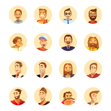 beard man: Smiling man with beard round avatar icons collection for hipster artist and businessman cartoon style isolated vector illustrations