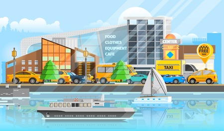 lorries: Taxi vehicles template with traffic of cars automobiles ship yacht and bus in flat style vector illustration