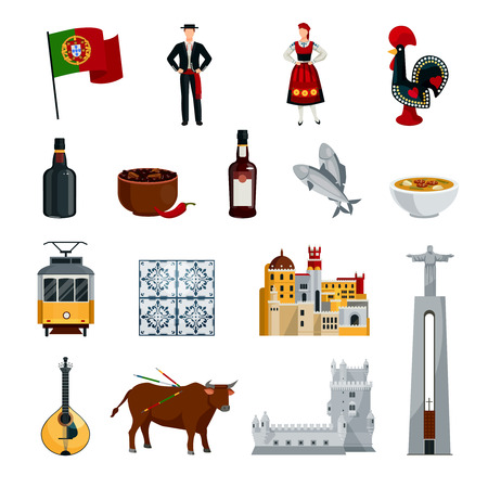 tramcar: Flat design portugal icons set with national costumes symbols cuisine and attractions isolated on white background vector illustration
