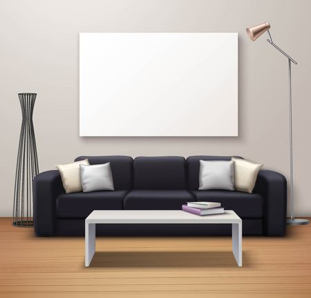 simulate: Modern interior design realistic mockup poster with sofa coffee table whiteboard and decorative floor vase vector illustration Illustration