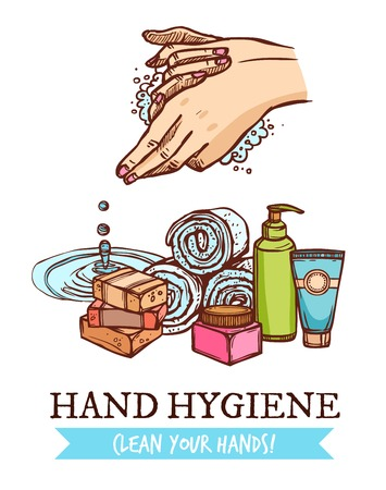 cleanness: Colorful healthcare sketch poster with cosmetics for hand washing and hygiene on white background vector illustration Illustration