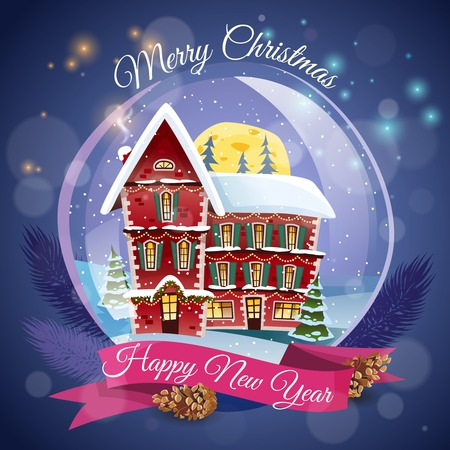 wishing card: Christmas greeting card  with magic house at night lights background and happy new year wishing flat vector illustration