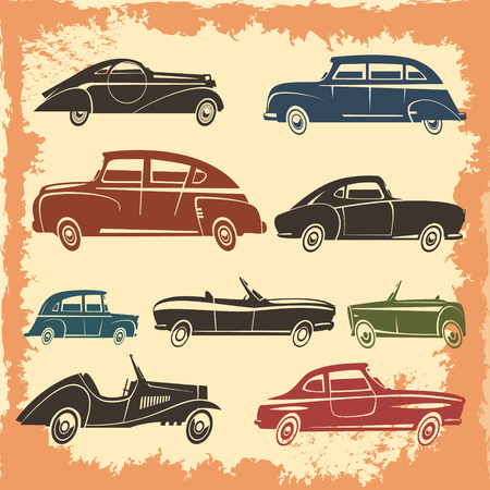 elite sport: Retro car models collection with vintage style autos on aged background abstract vector illustration