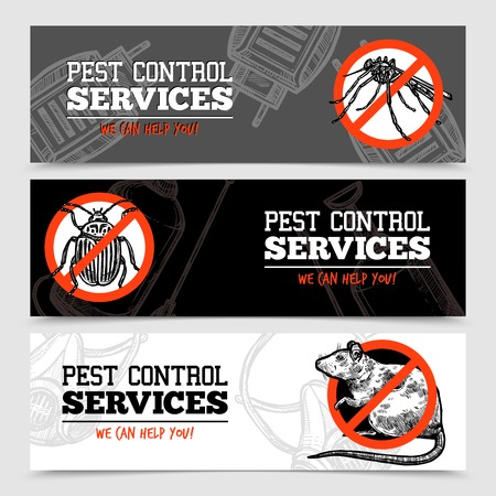 Pest control service horizontal sketch banners with insects and rodent isolated vector illustration Vectores