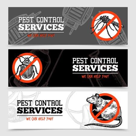 Servicios de control de plagas banderas bosquejo horizontal con insectos y roedores ilustración vectorial aislado Foto de archivo - 65127639