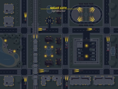 usual: Top view poster of night city with usual elements like roads buildings parking and other flat vector illustration