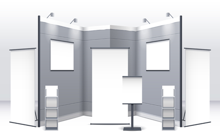 displays: Exhibition stand template with displays shelves signboards and booths in gray colors isolated vector illustration Illustration