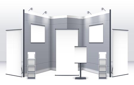 letreros: plantilla de soporte de la exposición con la muestra estantes letreros y cabinas en colores gris aislados ilustración vectorial