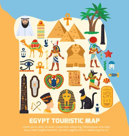 sights: Egypt touristic map with national landmarks and sights symbols flat vector illustration Illustration