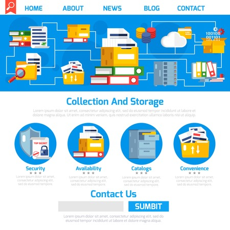 convenient: Archive page design with collection and storage symbols flat vector illustration