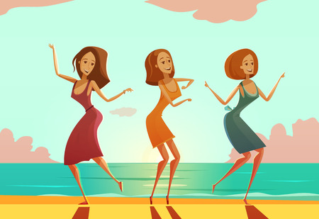Three young women dancing on sand beach cartoon vacation poster with sunset and ocean background vector illustration