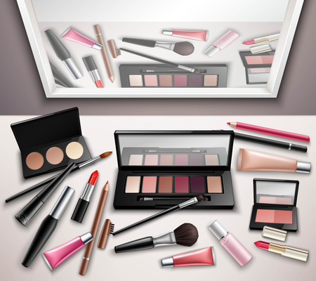 reflection mirror: Makeup work space accessories realistic top view image with eye shadows shades set and mirror reflection vector illustration