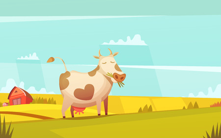 Cow and calf ranch farmland funny cartoon poster with farm house on background and grazing cattle vector illustration Illustration