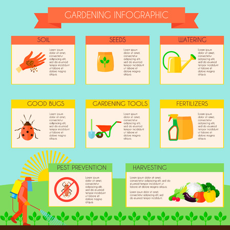 chemical fertilizer: Gardening infographic set with pest prevention symbols flat vector illustration Illustration