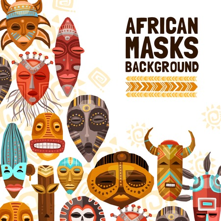 Flat background with colorful african ethnic tribal masks of different size and shape vector illustration Vektorové ilustrace