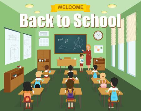 salon de clases: plantilla de aula de la escuela con los niños en los escritorios y profesor en la pizarra ilustración vectorial