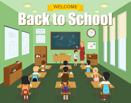 school class: School classroom template with children at the desks and teacher at the blackboard vector illustration