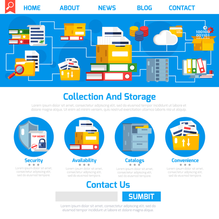 Archive page design with collection and storage symbols flat vector illustration