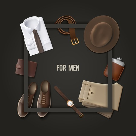 moda: Los hombres usan el concepto de moda con un marco sobre fondo oscuro ilustración vectorial de dibujos animados Vectores