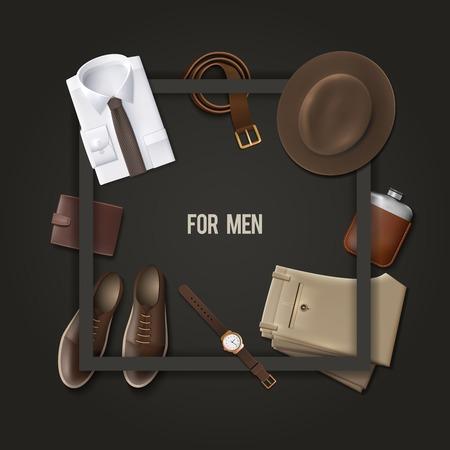 fashion: Männer tragen Mode-Konzept mit einem Rahmen auf dunklem Hintergrund Cartoon-Vektor-Illustration Illustration