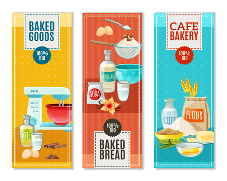 raisin: Colorful flat vertical banners set for cafe bakery with baking ingredients isolated vector illustration Illustration