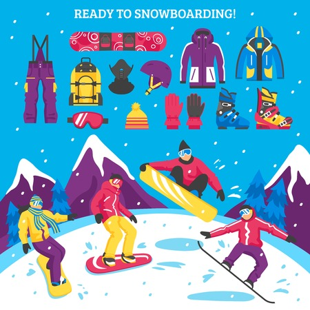 sport equipment: Snowboarding vector illustration with sportsmen figurines and collection of snowboarders equipment clothes and accessories for active winter sport