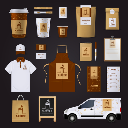 business shirts: Brown and white coffee corporate identity design set for cafe isolated on black background flat vector illustration Illustration
