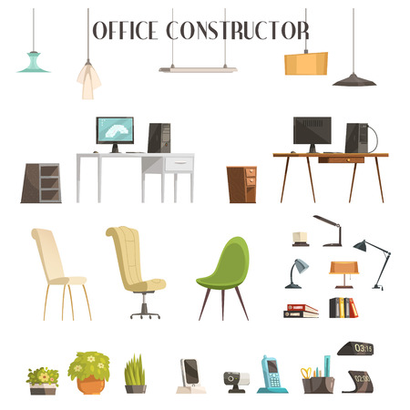 work table: Interior accessories cartoon style icons set for your office space trendy successful renovation planing isolated vector illustration