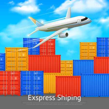 Express shipping poster with different colors cargo containers in open storage and airplane vector illustration Illustration