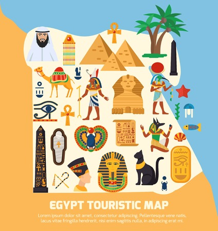 touristic: Egypt touristic map with national landmarks and sights symbols flat vector illustration Illustration