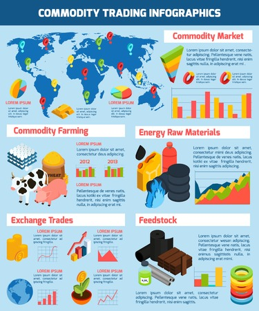 Commodity trading infographic set with commodity market symbols isometric vector illustration Illustration