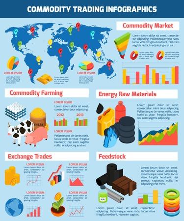 Commodity trading infographique fixé avec des symboles du marché des produits de base isométrique illustration vectorielle Vecteurs
