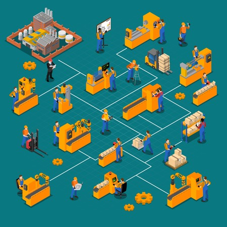 Factory workers isometric composition with production symbols isolated vector illustration