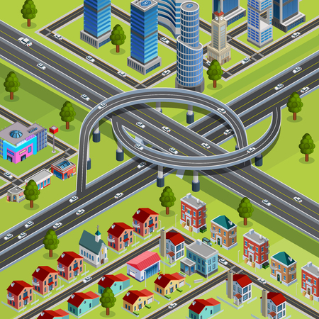 Multilevel roads interchange city infrastructure element connecting business and residential areas isometric constructor poster abstract vector illustration Illustration