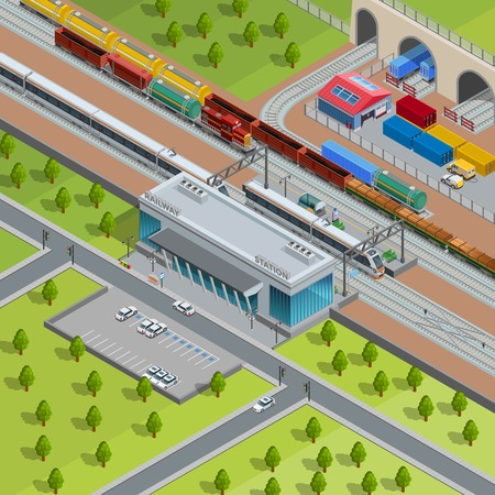 goods station: Modern suburban railway station with passing passenger trains goods depot and freight transport isometric poster vector illustration Illustration