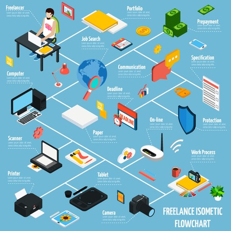 time specification: Coworking freelance people isometric flowchart with work and communication symbols vector illustration Illustration